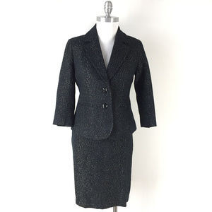 new Talbots XS 2 Skirt Suit Black Gold Tweed